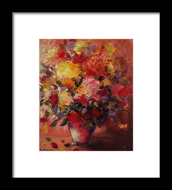 Flower Framed Print featuring the painting Flower Pot by Mario Zampedroni