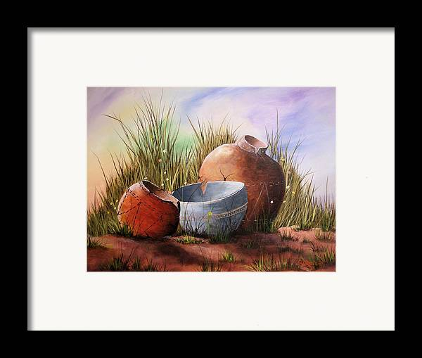 Still Life Landscape Clay Pot Broke Desert Exotic Flower Floral Sand Mexico Grass Purple Blue Green Framed Print featuring the painting Flower Pots by Sherry Winkler