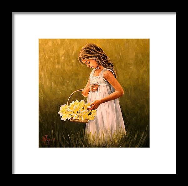Girl Framed Print featuring the painting Flower S Basket by Natalia Tejera