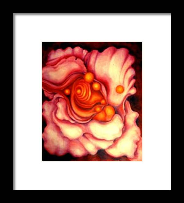 Surreal Artwork Framed Print featuring the painting Flower Shell by Jordana Sands