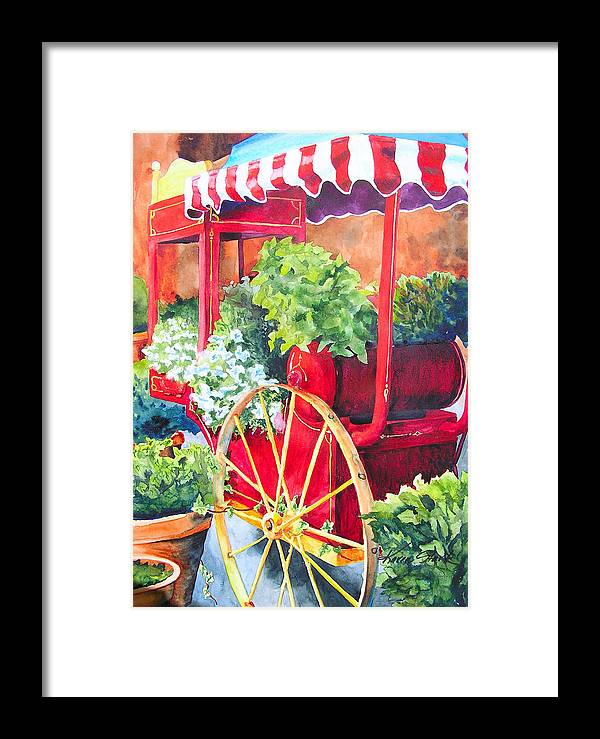 Floral Framed Print featuring the painting Flower Wagon by Karen Stark