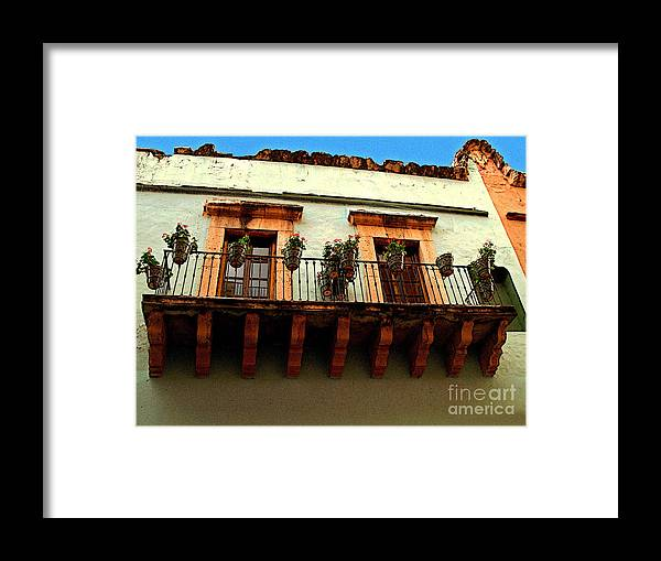 Darian Day Framed Print featuring the photograph Flowered Balcony by Mexicolors Art Photography