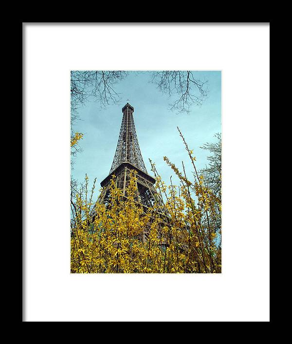 Eiffel Tower Framed Print featuring the photograph Flowered Eiffel Tower by Charles Ridgway