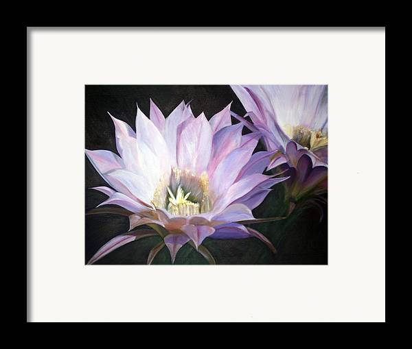 Flower Framed Print featuring the painting Flowering Cactus by Fiona Jack