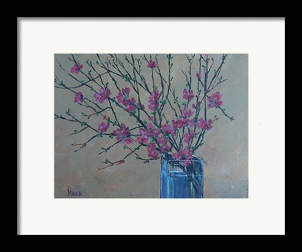 Flowers Framed Print featuring the painting Flowering Quince by Pete Maier