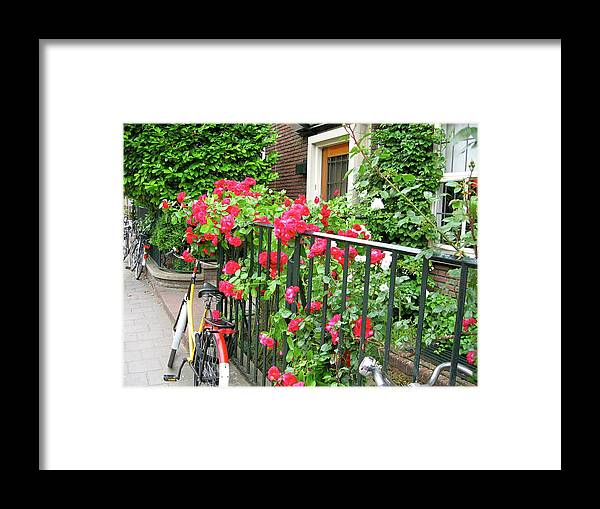 Flowers Framed Print featuring the photograph Flowers And Bikes Oh My by Phyllis Kaltenbach