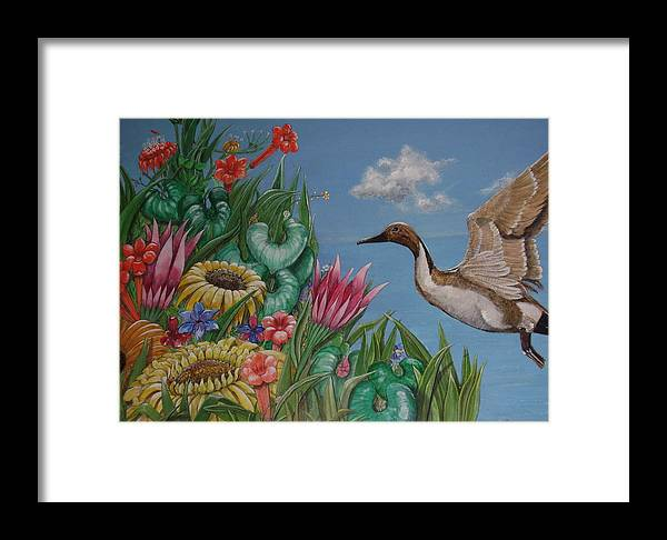 Flowers Framed Print featuring the painting Flowers And Bird By The Sea by Elvira de Kolb