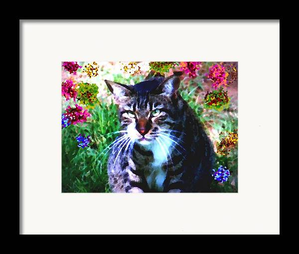 Cat Grey Attention Grass Flowers Nature Animals View Framed Print featuring the digital art Flowers And Cat by Dr Loifer Vladimir