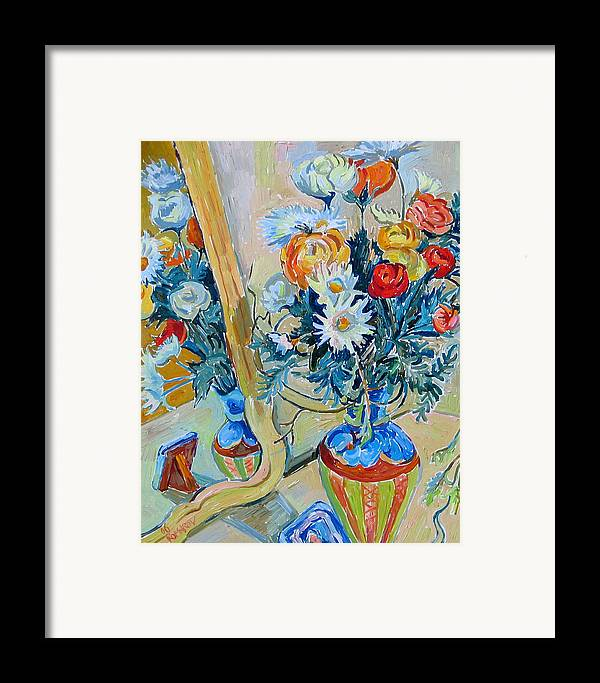 Flowers Framed Print featuring the painting Flowers And Memories by Vitali Komarov
