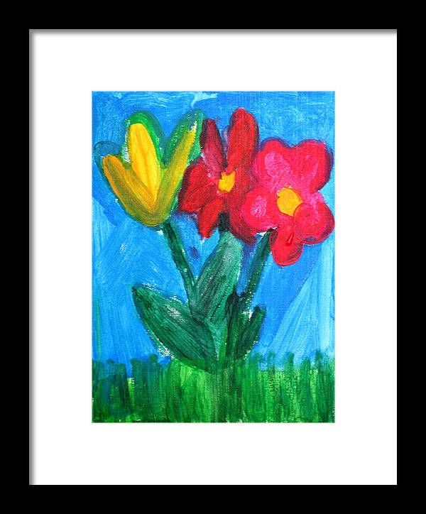 Flowers Framed Print featuring the painting Flowers by Ann Lyons