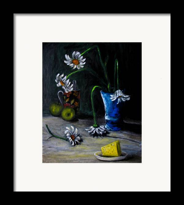 Flower Framed Print featuring the painting Flowers Camomiles Still Life Acrylic Painting by Natalja Picugina