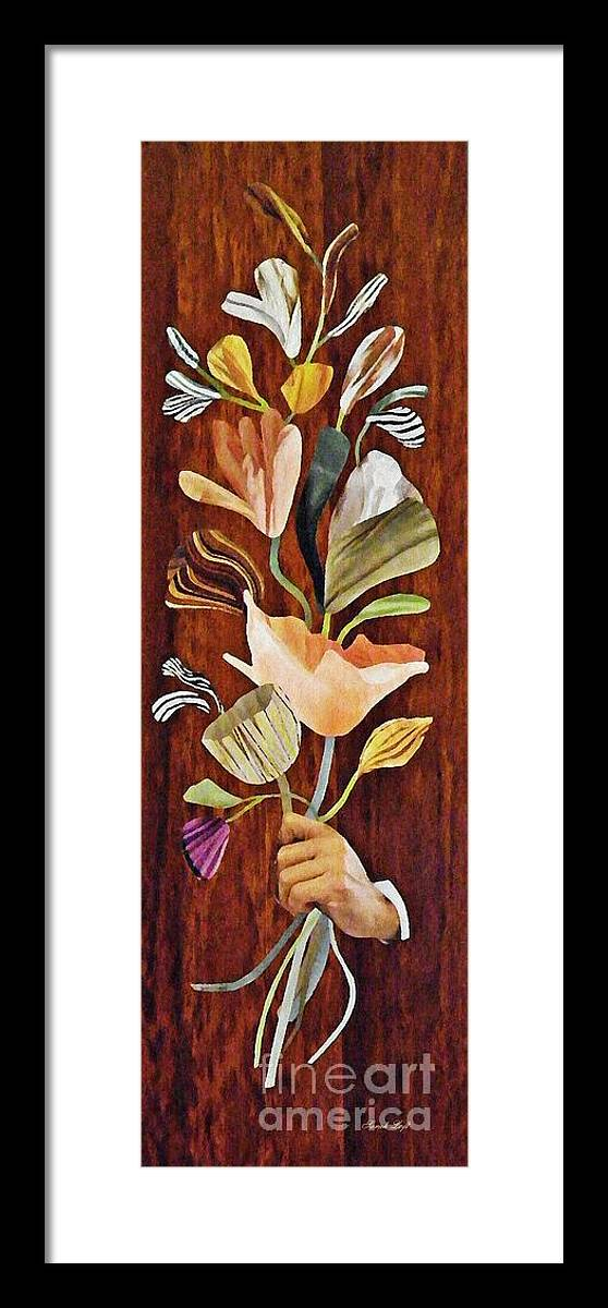 Floral Framed Print featuring the mixed media Flowers For Catherine by Sarah Loft
