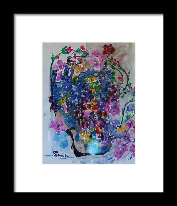 Flowers Framed Print featuring the painting Flowers For Fred by Sima Amid Wewetzer