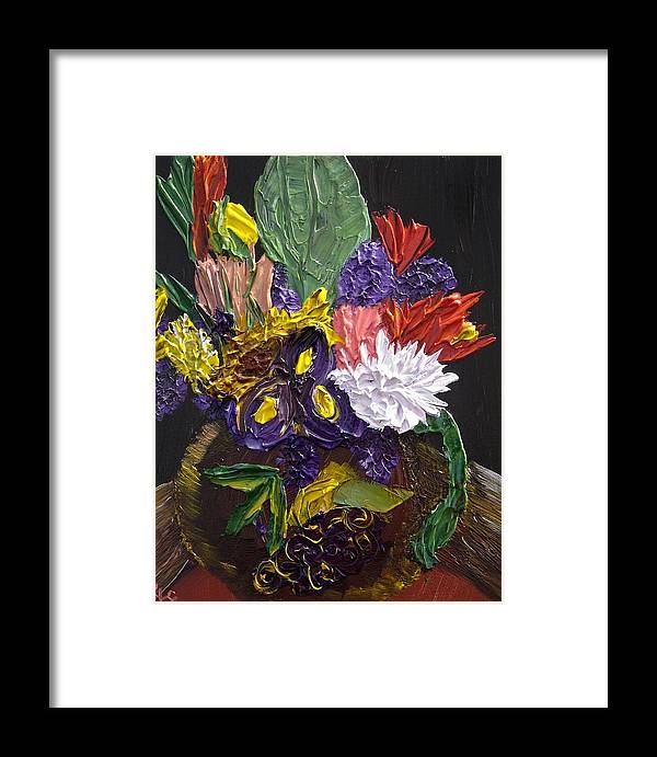 Flowers Framed Print featuring the painting Flowers For Linda by Karen L Christophersen