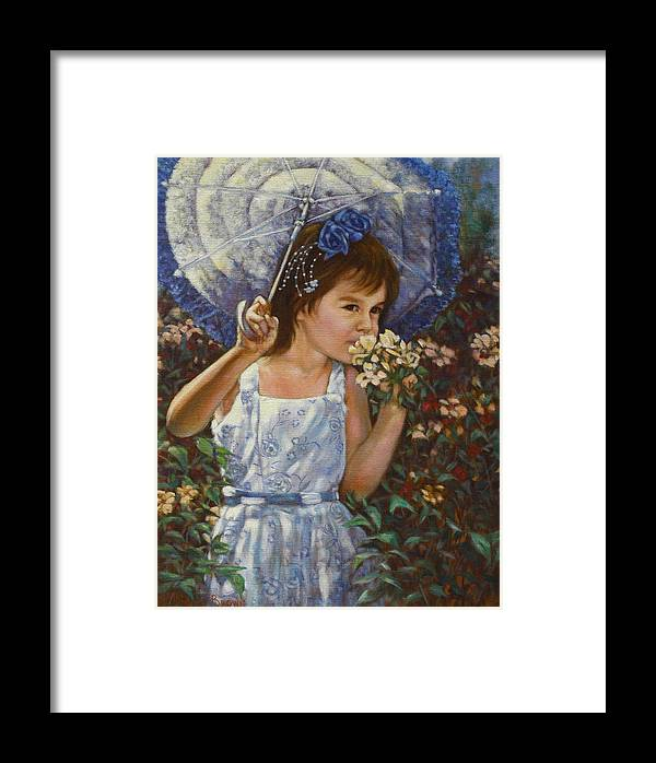 Child Framed Print featuring the painting Flowers by Harvie Brown