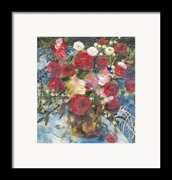 Limited Edition Prints Framed Print featuring the painting Flowers In A Basket by Nira Schwartz