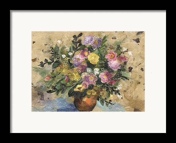 Limited Edition Prints Framed Print featuring the painting Flowers In A Clay Vase by Nira Schwartz