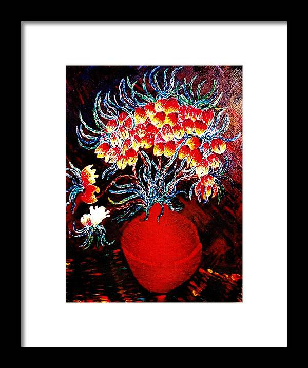 Floral Framed Print featuring the painting Flowers In A Red Vase by Brenda Adams