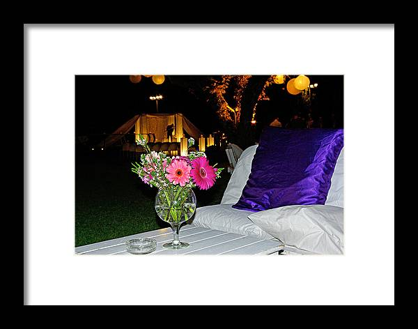 Flowers Framed Print featuring the photograph Flowers In A Vase On A White Table by Zal Latzkovich