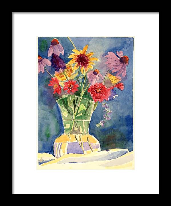 Flowers In Glass Vase Framed Print featuring the painting Flowers In Glass Vase by Judy Swerlick