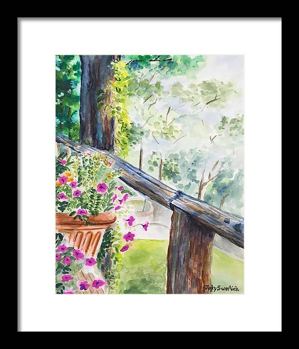 Flowers Framed Print featuring the painting Flowers in Morning Mist by Judy Swerlick