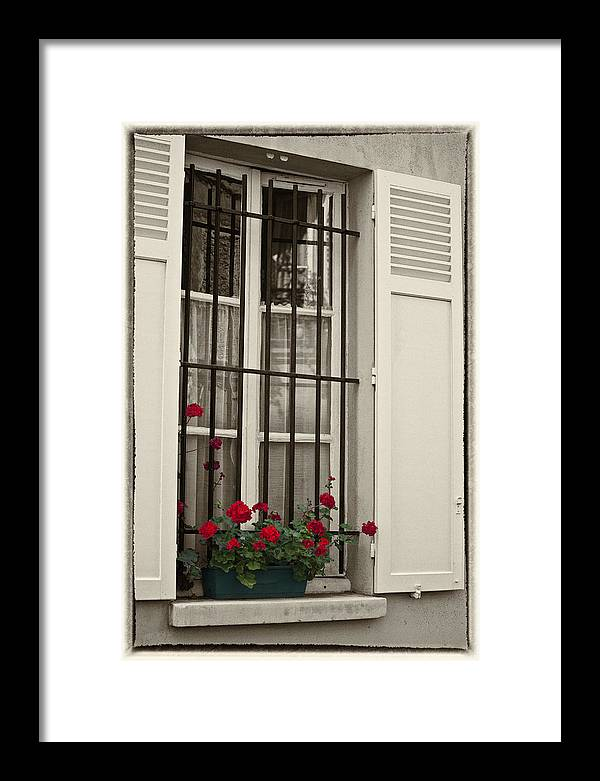 Paris Framed Print featuring the photograph Flowers in Paris windowbox by Sheila Smart Fine Art Photography