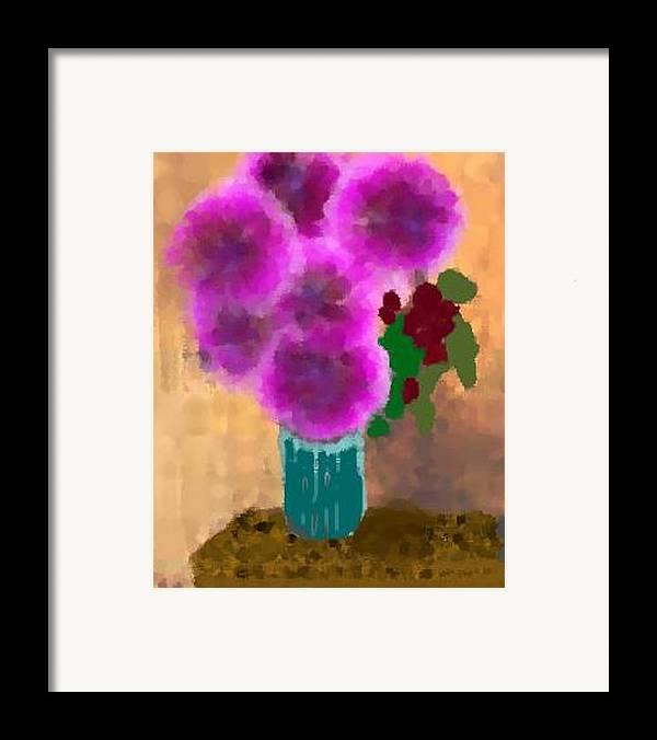 Flowers.colors.llilac.red.rose.green.blue.room.flower Vase.leaves Framed Print featuring the digital art Flowers In Room by Dr Loifer Vladimir