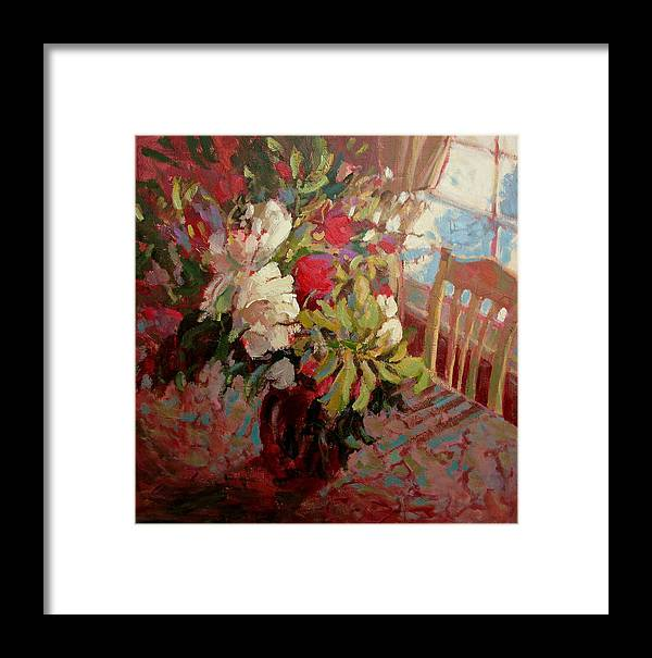 Flowers Framed Print featuring the painting Flowers In Soft Light by Brian Simons