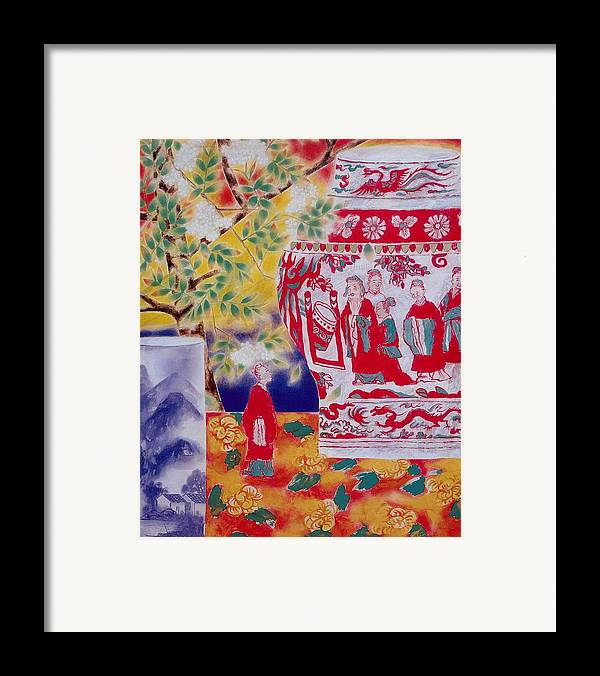 Acrylic Paintings Framed Print featuring the painting Flowers In Vase-in The Distance by Minxiao Liu