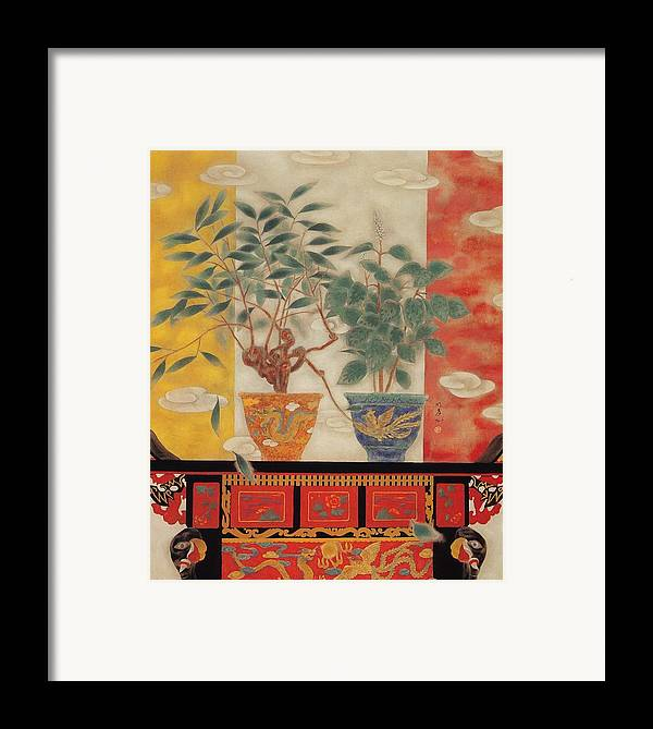 Flowers Painting Framed Print featuring the painting Flowers In Vase-legend Of Drago Phoenix by Minxiao Liu