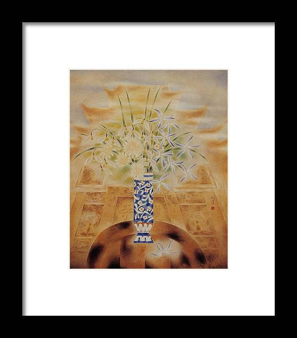 Flowers Painting Framed Print featuring the painting Flowers In Vase-leisure by Minxiao Liu