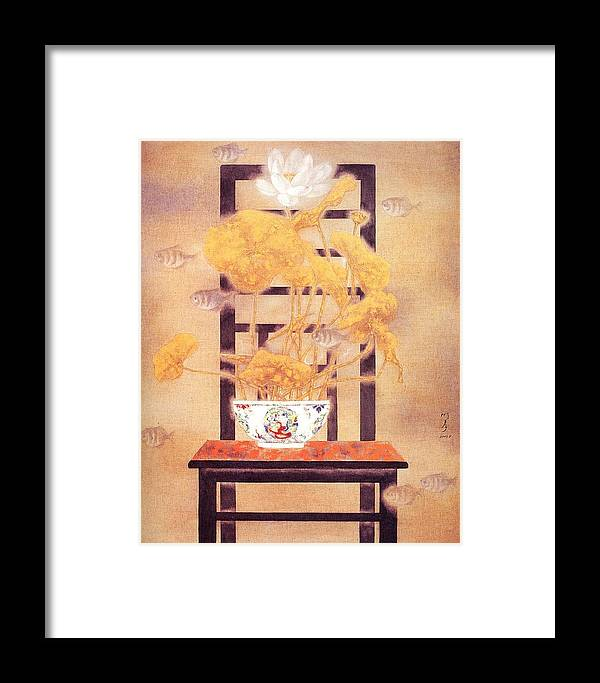 Flower Paintings Framed Print featuring the painting Flowers In Vase- Lotus by Minxiao