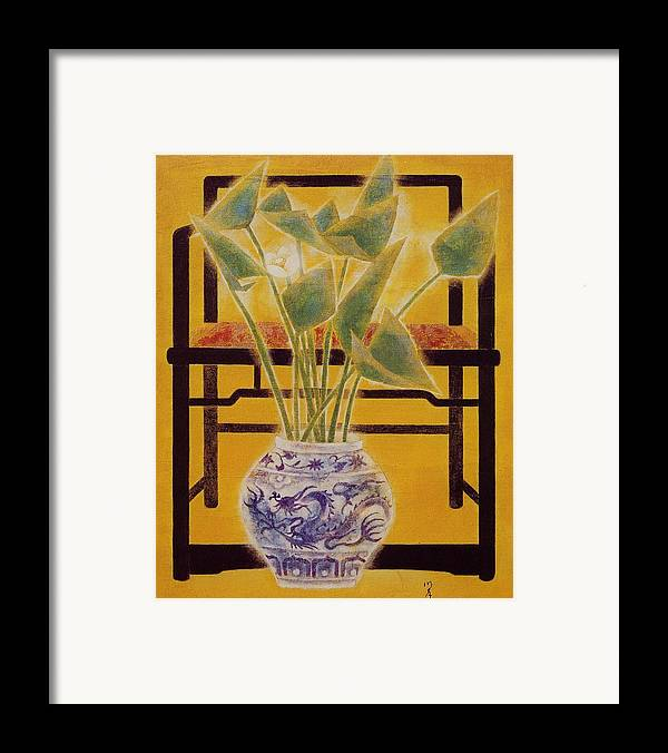Acrylic Painting Framed Print featuring the painting Flowers In Vase by Minxiao Liu