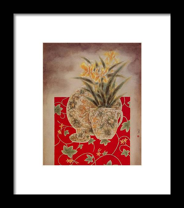 Flowers Painting Framed Print featuring the painting Flowers In Vase-nightngales by Minxiao Liu