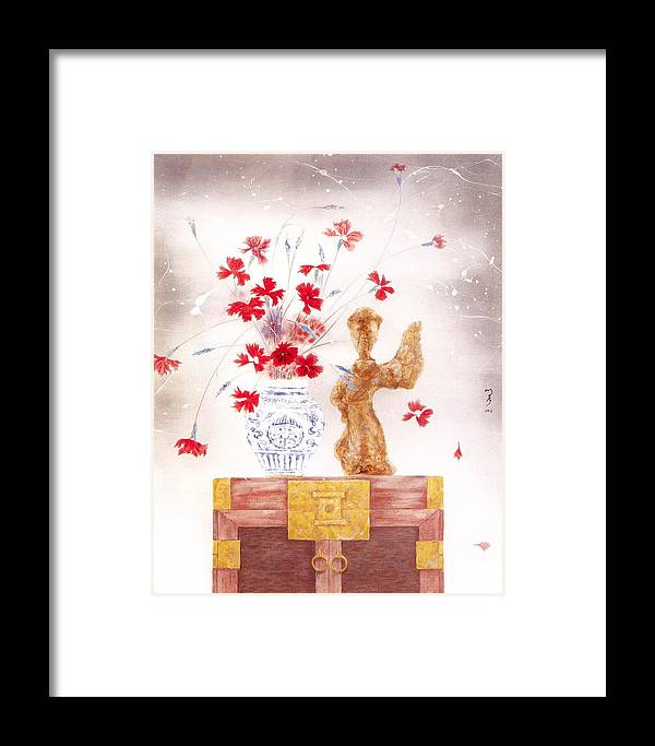 Acrylic Painting Framed Print featuring the painting Flowers In Vase-pottery Figurine by Minxiao Liu