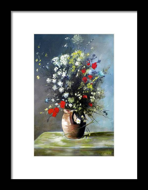 Art Framed Print featuring the painting Flowers In Vase by RB McGrath