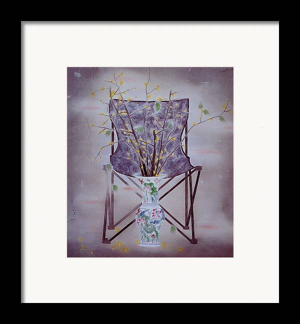 Flowers Painting Framed Print featuring the painting Flowers In Vase-tranquility by Minxiao Liu