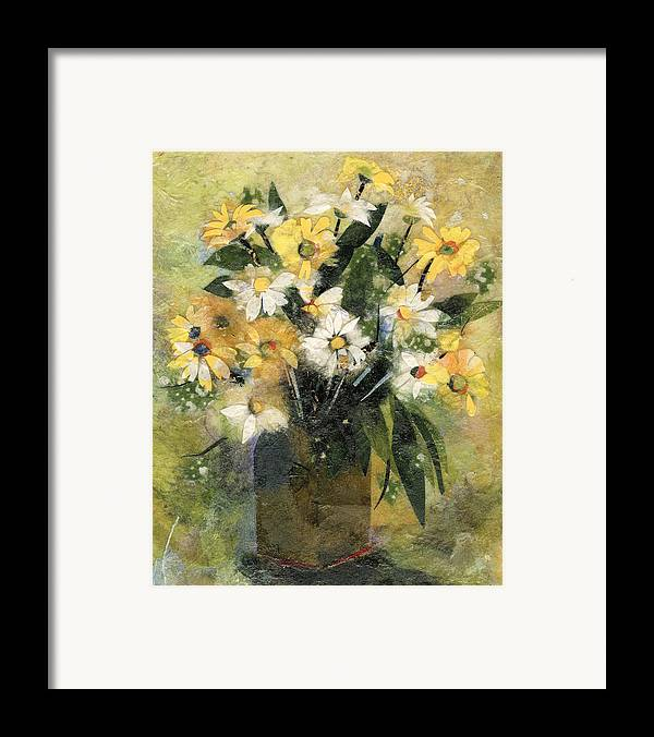 Limited Edition Prints Framed Print featuring the painting Flowers In White And Yellow by Nira Schwartz