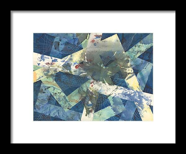 Abstract Framed Print featuring the painting Flowers Lost In Angles by Beena Samuel