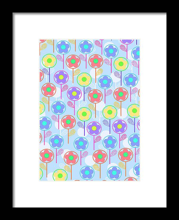 Digital Framed Print featuring the digital art Flowers by Louisa Knight