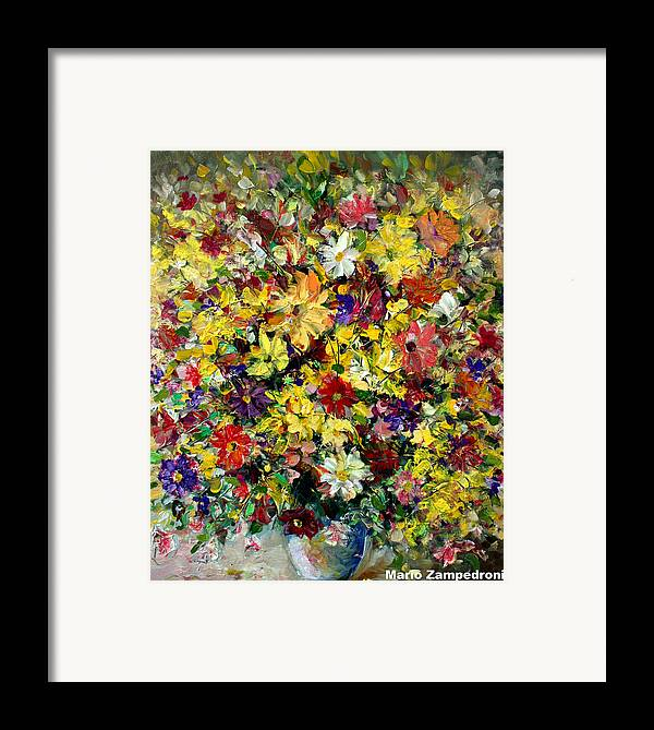 Flowers Framed Print featuring the painting Flowers by Mario Zampedroni