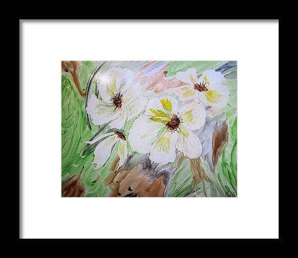 Flowers Framed Print featuring the painting Flowers by Maris Sherwood