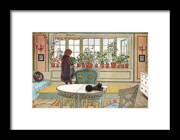 Carl Larsson Framed Print featuring the painting Flowers On The Windowsill by MotionAge Designs