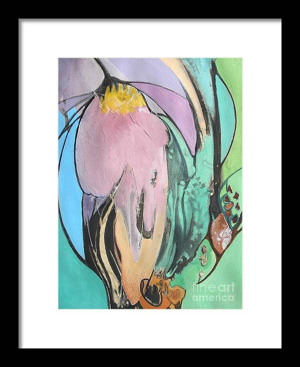 Abstract Framed Print featuring the painting Flowers To Seeds by Barbara Couse Wilson