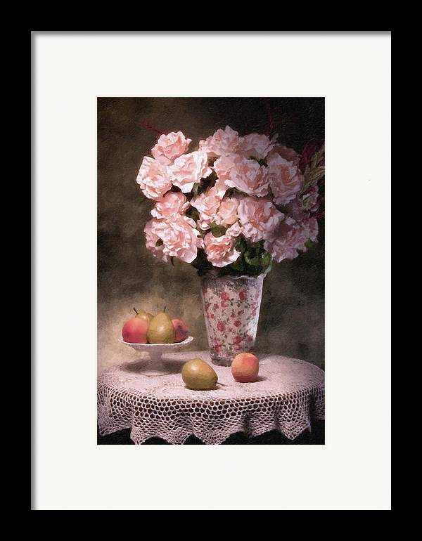Flowers Framed Print featuring the photograph Flowers With Fruit Still Life by Tom Mc Nemar
