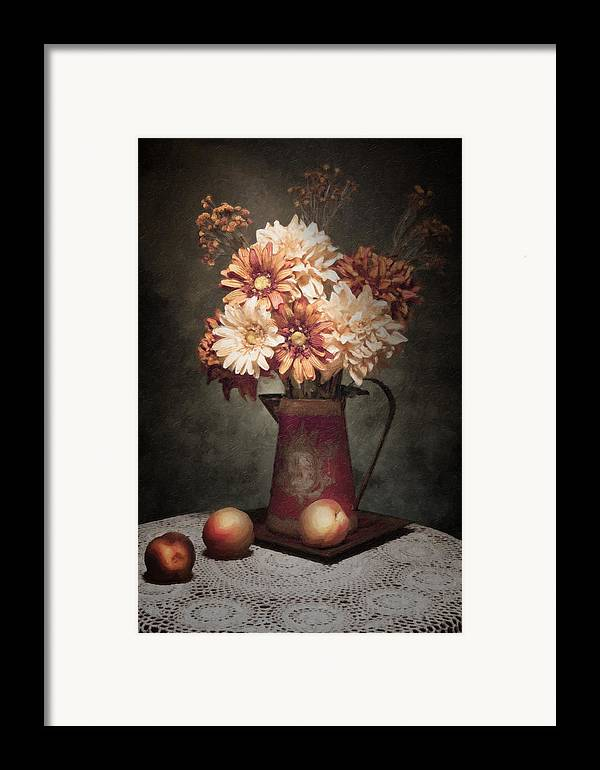 Flowers Framed Print featuring the photograph Flowers With Peaches Still Life by Tom Mc Nemar