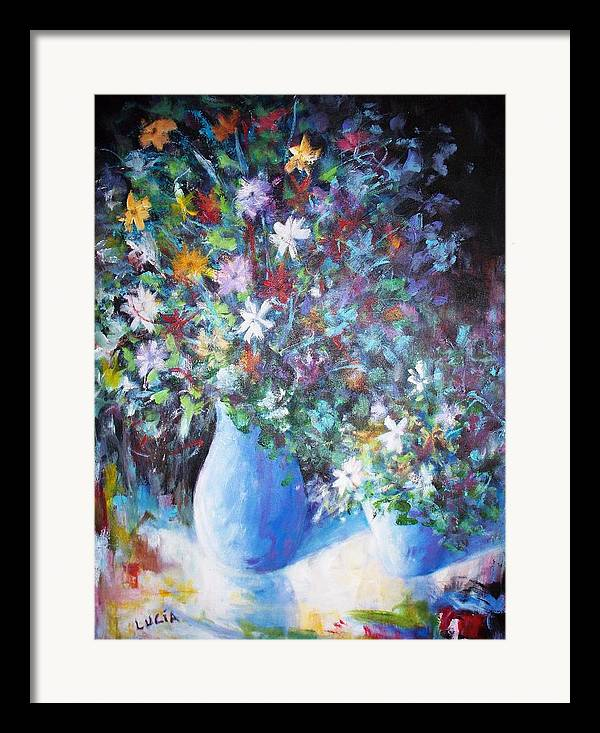 Flowers. Vases. Still Life. Prints. Framed Print featuring the print Flowerworks by Carl Lucia