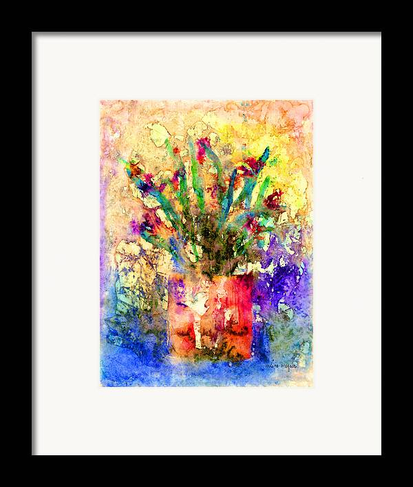 Flower Framed Print featuring the mixed media Flowery Illusion by Arline Wagner