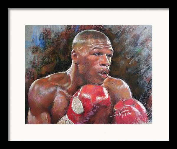 Floyd Mayweather Jr. Framed Print featuring the pastel Floyd Mayweather Jr by Ylli Haruni
