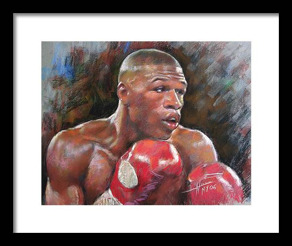 Floyd Mayweather Jr. Framed Print featuring the pastel Floyd Mayweather Jr by Ylli Haruni